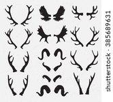 vector horns set silhouette on... | Shutterstock .eps vector #385689631