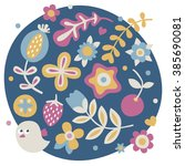 cute spring set made with... | Shutterstock .eps vector #385690081