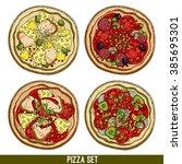 set of four varieties of pizzas ... | Shutterstock .eps vector #385695301