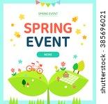 spring picnic | Shutterstock .eps vector #385696021
