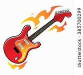 Burning Red Electric Guitar  ...
