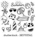 set of summer doodle isolated... | Shutterstock . vector #385705561