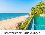 beautiful luxury hotel swimming ... | Shutterstock . vector #385708225