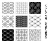 collection of 9 black and white ... | Shutterstock .eps vector #385724914