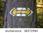 Small photo of Tourist marking on a tree in the Czech republic. Simply bidirectional arrow.