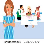 young woman with eating... | Shutterstock .eps vector #385730479