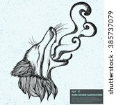 vintage vector sketch of fox... | Shutterstock .eps vector #385737079