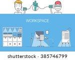 designer client negotiations... | Shutterstock .eps vector #385746799