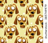 cartoon dogs seamless pattern... | Shutterstock . vector #385749979