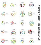 set of linear abstract logos ... | Shutterstock .eps vector #385753369