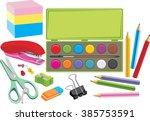 school supplies. vector | Shutterstock .eps vector #385753591