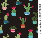 Mexican Cactus Seamless Print