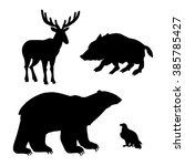 set of forest animals... | Shutterstock . vector #385785427