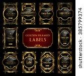 golden framed labels   Shutterstock .eps vector #385799374