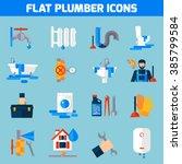 plumbing service flat icons set ... | Shutterstock .eps vector #385799584
