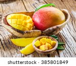 Mango Fruit And Mango Cubes On...