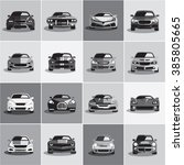 car icons. flat style grayscale ... | Shutterstock .eps vector #385805665
