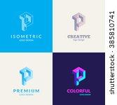 """letter """"p"""" isometric logo set.   Shutterstock .eps vector #385810741"""