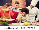 cooking class  culinary  bakery ... | Shutterstock . vector #385821214