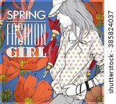 floral vector card with fashion ...   Shutterstock .eps vector #385824037