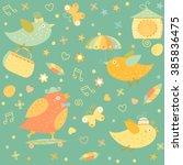 cartoon funny little bird... | Shutterstock .eps vector #385836475