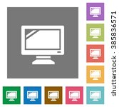 monitor flat icon set on color...