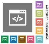 programming code flat icon set...