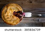 fresh baked blueberry and peach ... | Shutterstock . vector #385836739