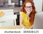 happy vivacious young redhead... | Shutterstock . vector #385838125