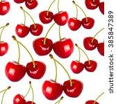 seamless pattern cherry berries ... | Shutterstock . vector #385847389