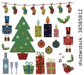 collection of christmas party... | Shutterstock .eps vector #38585812