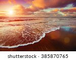Sunset Over Sea With Oncoming...