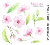set of hand painted watercolor... | Shutterstock . vector #385874521