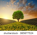 solar energy panels with tree... | Shutterstock . vector #385877524