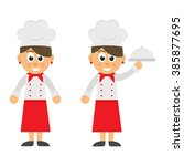 cartoon woman chef set | Shutterstock .eps vector #385877695
