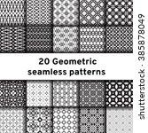 set of 20 monochrome seamless... | Shutterstock .eps vector #385878049