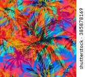 tropical pattern depicting... | Shutterstock .eps vector #385878169