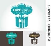 hug and love cooking logo... | Shutterstock .eps vector #385882549
