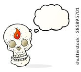 cartoon mystic skull with... | Shutterstock .eps vector #385895701