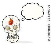 cartoon mystic skull with...   Shutterstock .eps vector #385895701