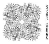 vector monochrome floral... | Shutterstock .eps vector #385899229