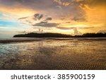 beautiful sunset at beach on... | Shutterstock . vector #385900159