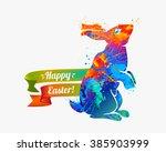 Happy Easter Card. Easter Bunn...
