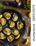 homemade creamy oysters... | Shutterstock . vector #385915075