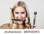 closeup portrait of woman with... | Shutterstock . vector #385920391