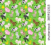 seamless  tileable farm animal... | Shutterstock .eps vector #385921315