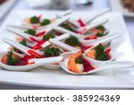 beautifully decorated catering... | Shutterstock . vector #385924369