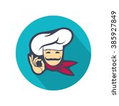 colored icon with whiskered chef | Shutterstock .eps vector #385927849