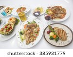 many of international food on... | Shutterstock . vector #385931779