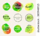 hand drawn badges and labels... | Shutterstock .eps vector #385948915